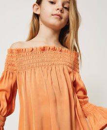 Robe épaules dénudées en crêpe georgette Orange «Iceland Poppy» Enfant 211GJ2QA2-04
