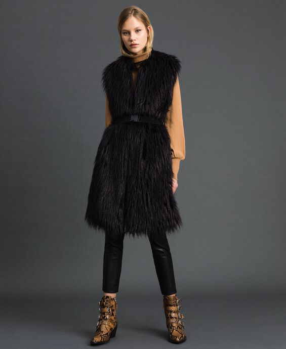 Long faux fur and wool cloth waistcoat