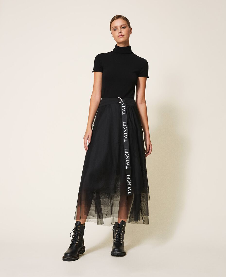 Jupe longue en tulle avec logo Noir Femme 202TT2T56-01