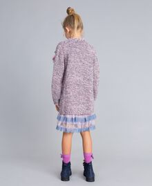 Maxi cardigan in mouliné yarn Multicolour Jacquard Child GA83EN-04