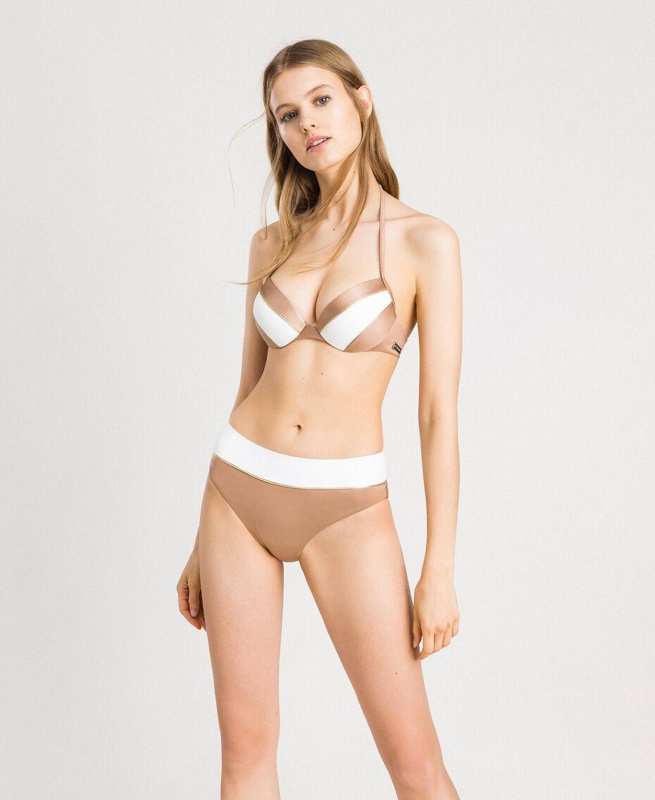 """Glänzende Bikinihose mit Kontrastbund Zweifarbig Elefnbeinfarben / """"Petra Sandstone"""" Braun Frau 191LMMHXX-0S"""
