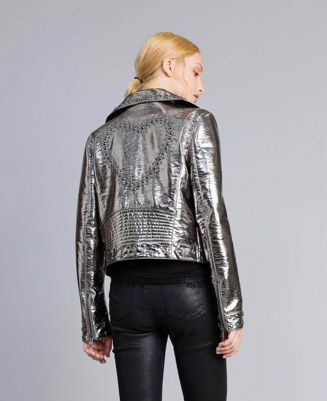 Jacke aus Metallic-Lederimitat Gewehrlauf Grau Frau YA82BN-03