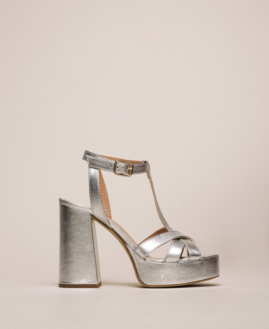 Laminated leather T-bar sandals Laminated Silver Grey Woman 201TCP074-01
