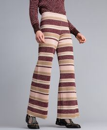 Striped lurex palazzo trousers Multicolour Pink / Burgundy Woman PA832Q-02
