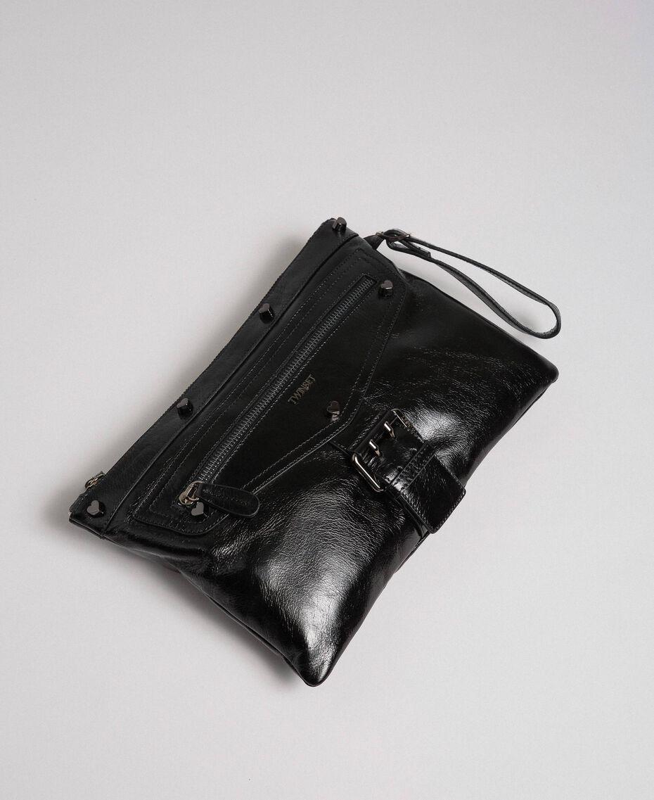 Pochette en cuir effet craquelé Noir Femme 192TA723B-02