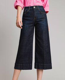 Weite Dreiviertel-Jeans Denimblau Frau 191MP2470-01