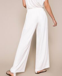 Crêpe palazzo trousers with rhinestones Ivory Woman 201LB27FF-04