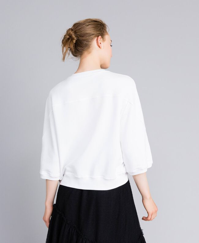 Sweat en coton avec cœur floqué Blanc Femme PA82CD-03
