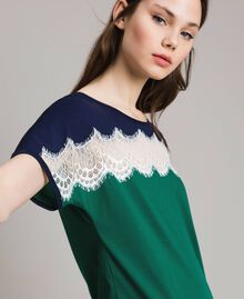 Long colour block dress with lace Evergreen Green Woman 191TP2271-04