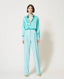 Pantalon en laine froide Vert «Nymphe Foncé» Femme 211TQ2057-05