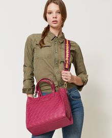 Bolso shopper Twinset Bag mediano con logo Morado «Red Plum» Mujer 202TB7161-0S