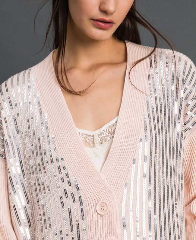 Contrasting trim and sequin maxi cardigan Blossom Pink / Irish Cream Woman 192MP3121-05
