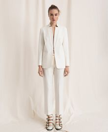 Linen blend cigarette trousers White Snow Woman 201TP2256-0T