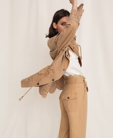 "Canvas jacket with broderie anglaise ""Dune"" Beige Woman 201TP2011-03"