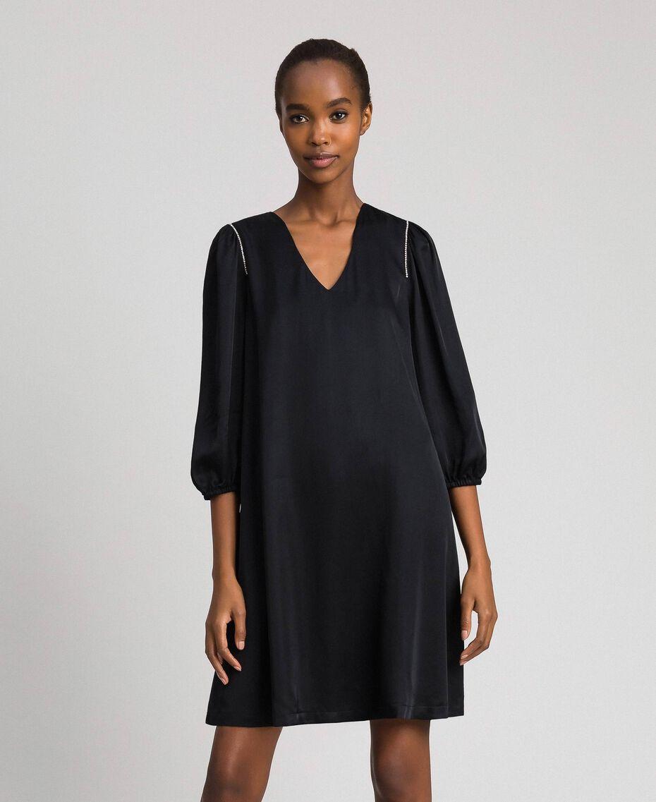 Satin dress with rhinestones Black Woman 192LI21SS-05