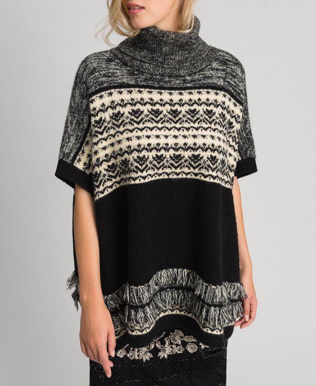 Mohair jacquard blend poncho Black Woman 192LL3AJJ-03