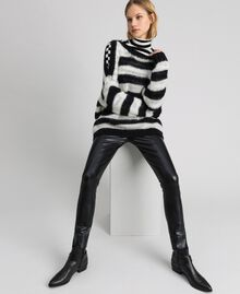 "Striped mohair jumper Black / ""Papyrus"" White Stripe Woman 192TP3271-0T"