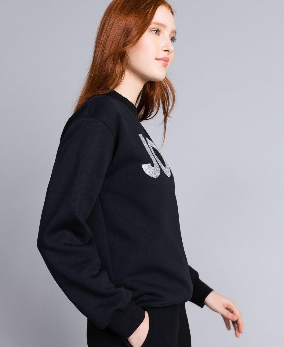 Cotton sweatshirt with glitter print Black Woman QA8TMA-02