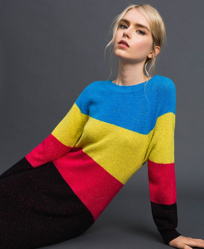 Robe color block en mélange de laine et lurex Tweed Lurex Femme 192MT3173-01