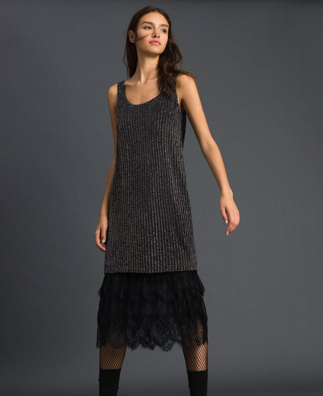 Sequin embroidery and lace dress Black Woman 192TP2461-01