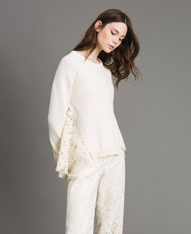 Pullover mit Spitzendetails Weiß Schnee Frau 191TP3202-01
