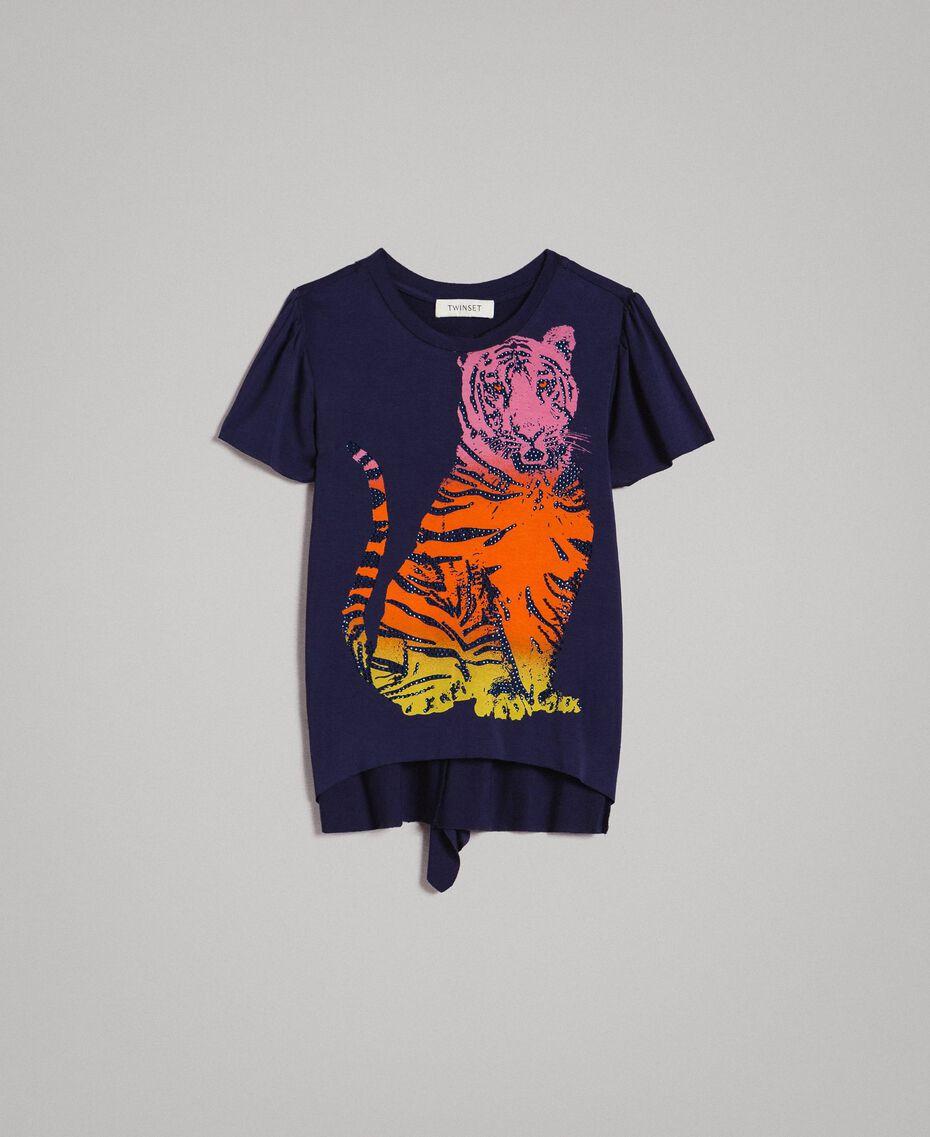 T-shirt en viscose avec imprimé et strass Indigo Enfant 191GJ2450-01