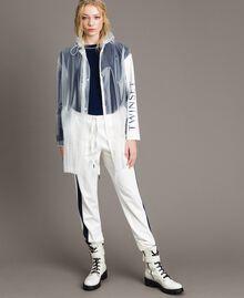 Pantalon avec bandes latérales en contraste Bicolore Blanc Soie / Bleu Nuit Femme 191TP2076-0T