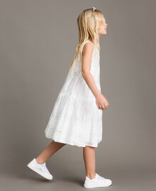 Embroidered organza and lace dress White Child 191GJ2QB1-02