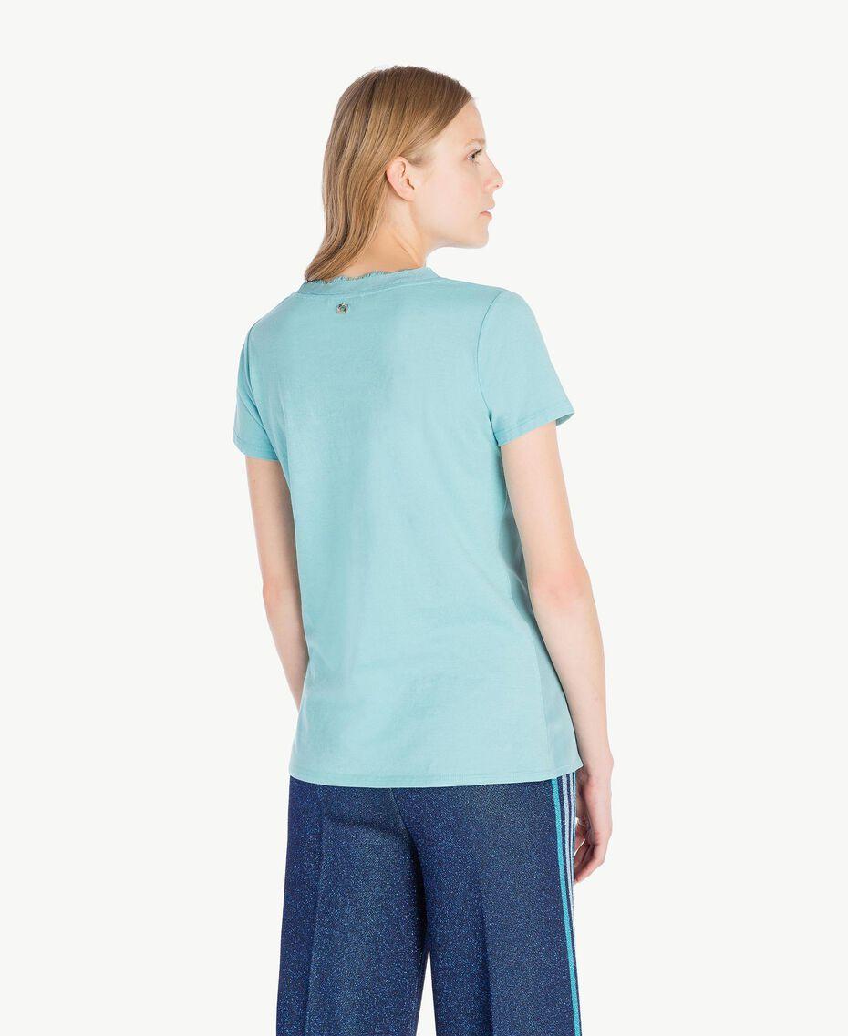 T-shirt soie Bleu ciel Femme PS82HB-03