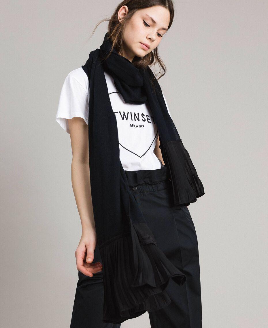 Écharpe plissée en coton mélangé Noir Femme 191TA436C-0S