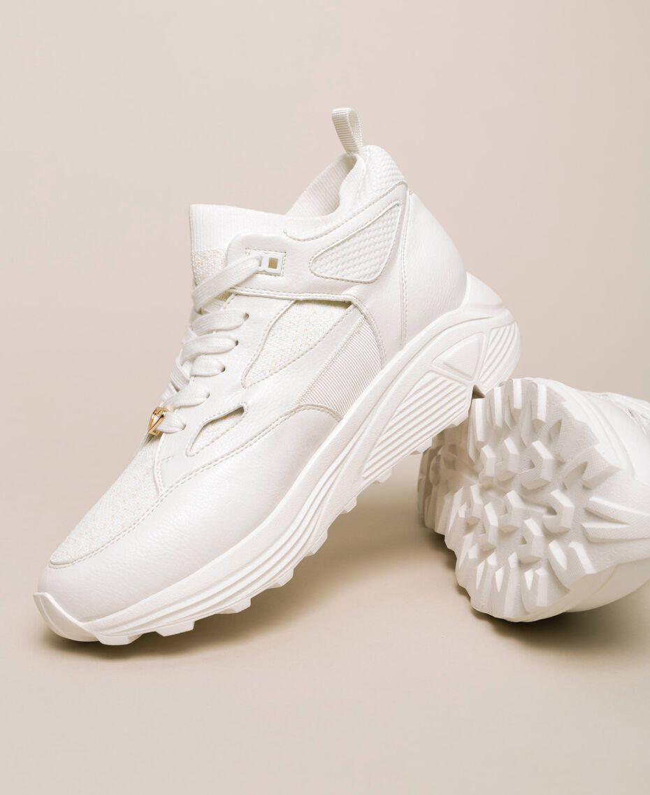 Faux leather and knit trainers Ivory Woman 201LLPZBB-01