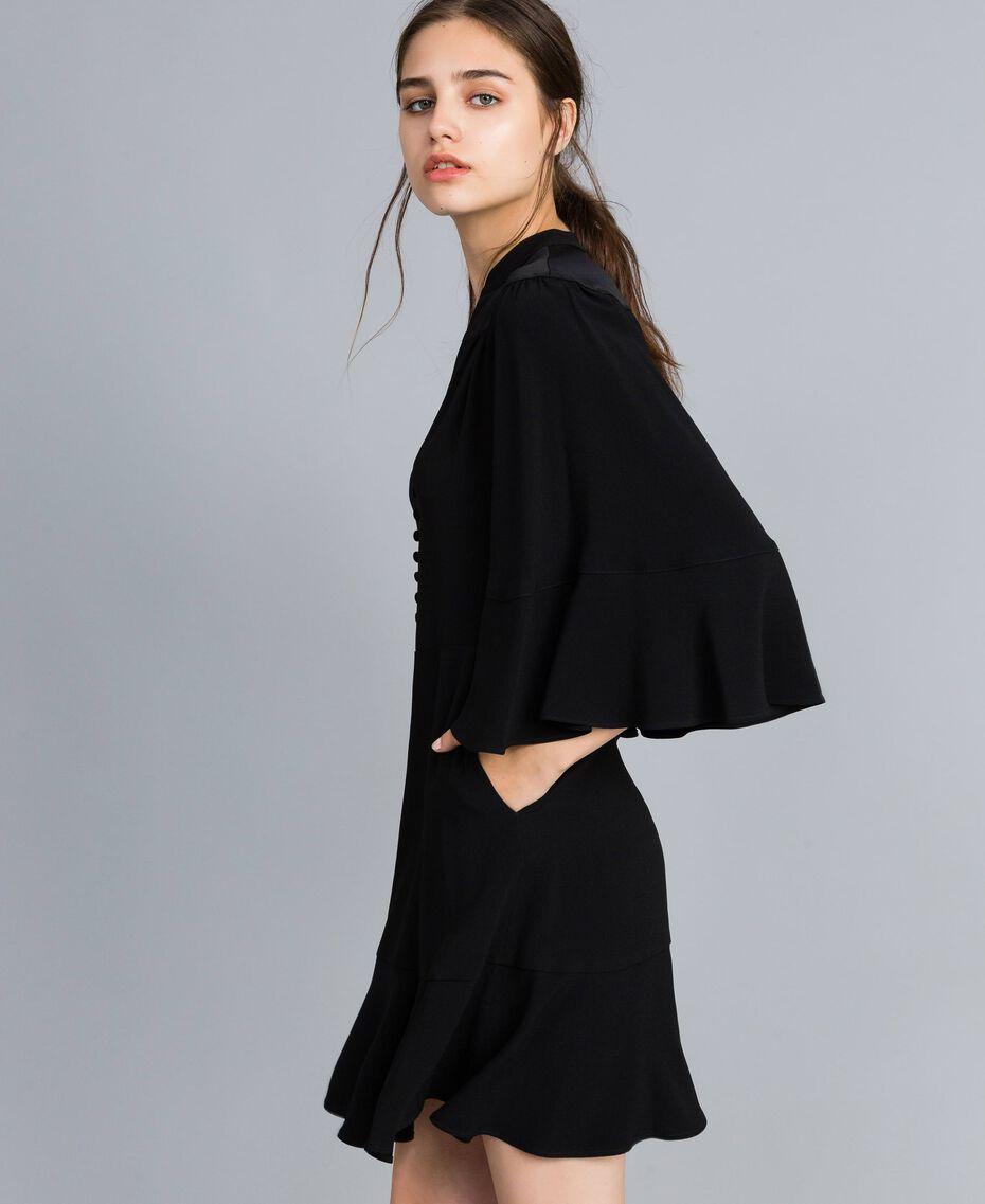 Robe en envers satin Noir Femme TA824C-02
