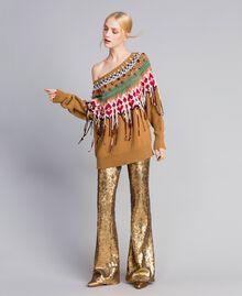 Hose mit Allover-Pailletten Gold Gelb Frau QA8TEF-02