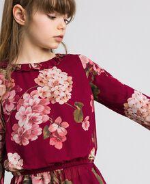 Bluse aus Georgette mit Blumenprint Print Rote-Bete-Rot Geranie Kind 192GJ2591-04