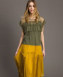 """Tulle blouse with slip top """"Olive Green"""" Woman 191ST2070-02"""