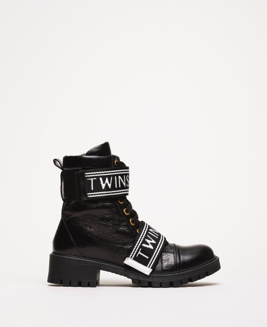 Leather combat boots with logo Black Woman 201TCP132-02