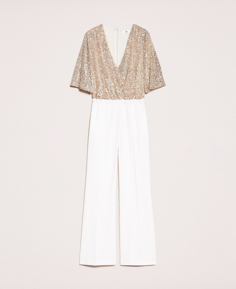 Jumpsuit with criss-cross and sequins Ivory Woman 201LB21CC-0S