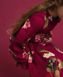 Kleid aus Georgette mit Blumenprint Print Rote-Bete-Rot Geranie Kind 192GJ2592-05