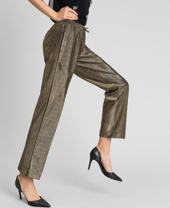 Metal effect trousers