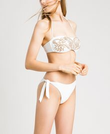 Bandeau bikini top with embroideries and rhinestones Ivory Woman 191LMMR11-0S