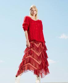 Long tulle skirt with pleated flounces Dark Raspberry Woman 212TP2204-0T
