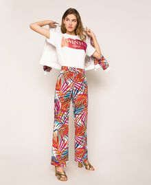 "Crêpe de Chine palazzo trousers ""Ice"" White Ferns Print Woman 201MT2374-05"