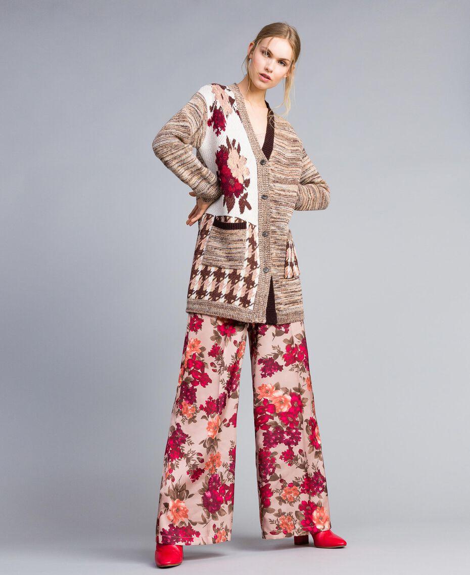 Cardigan jacquard floral et pied de coq Jacquard Floral Rose Nude Femme SA83HC-01