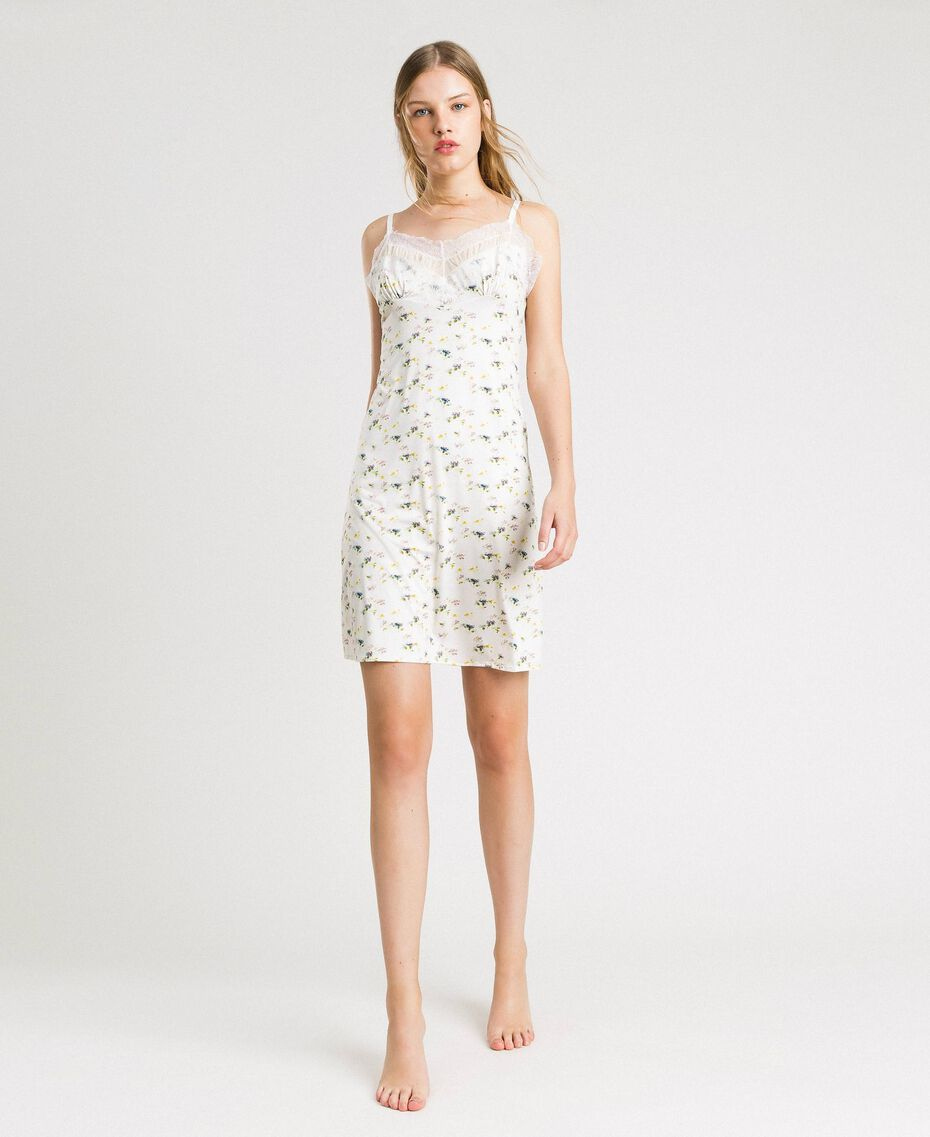 Floral print slip with lace Ivory Mini Flowers Print Woman 191LL2AAA-0S
