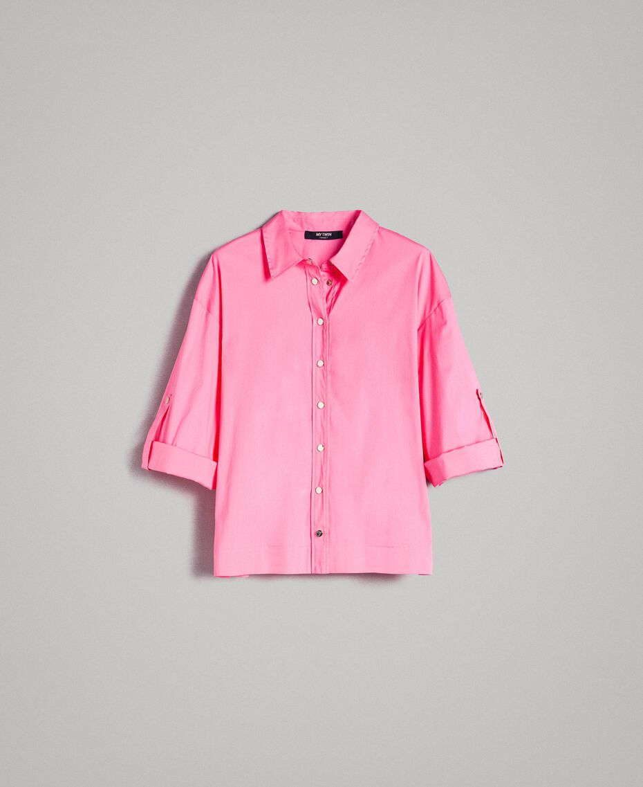 Poplin boxy shirt Pink Camellia Woman 191MP2211-0S