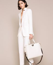 Grand cabas en cuir orné d'un cœur Blanc Neige Femme 201TA7052-0S