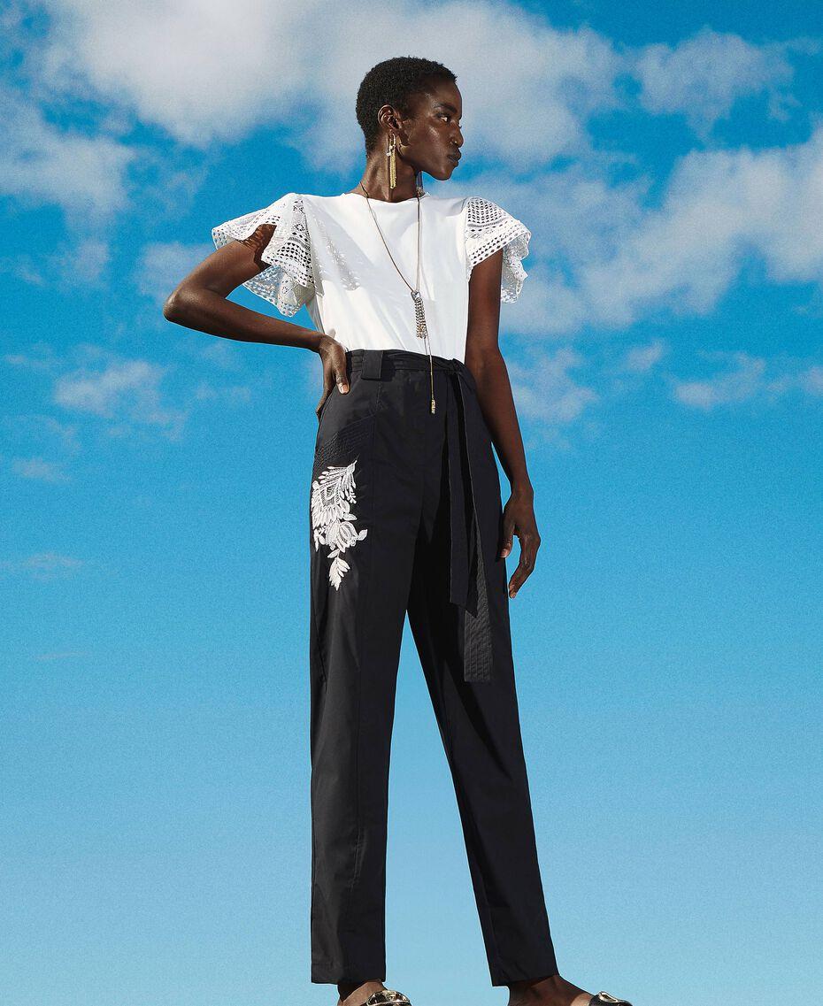 Pantalon en popeline avec broderie Noir Femme 211TT2473-01