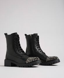 Leather combat boots with full rhinestone toe Black Woman 192TCP01J-01