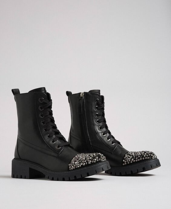 Leather combat boots with full rhinestone toe