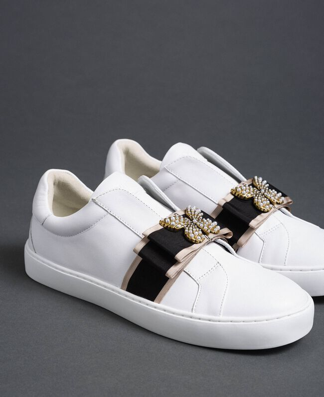 Leather trainers with embroidered band White Woman 192TCP06Q-05